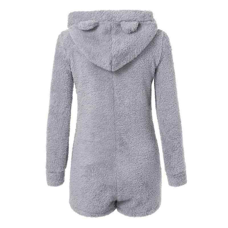 2018 europäischen Frauen Warme Mit Kapuze Overall Cute Bear Pyjamas Sets Weibliche Warme Lange Sleeve Home Zipper Pyjamas Kleidung