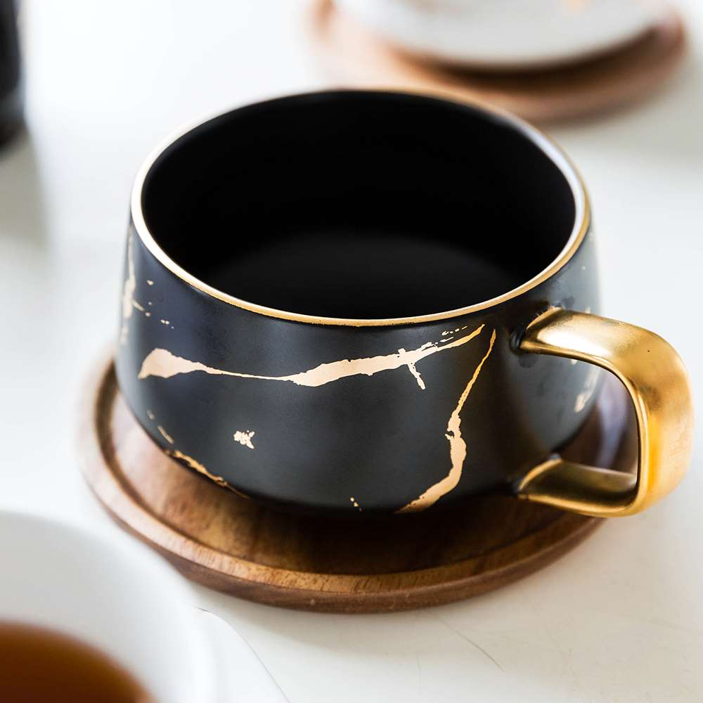 Luxury matte ceramic marble tea coffee Cups and with wood Saucers black and white gold inlay ceramic cups