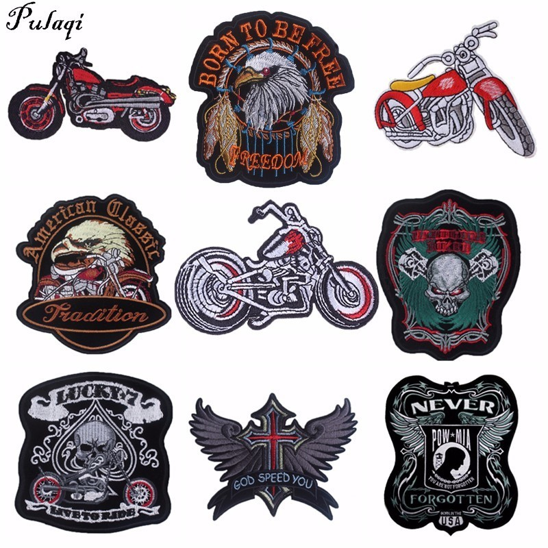 Pulaqi Punk Rock Bike Patches Embroidery Biker Appliques Motorcycle Iron On Patches For Clothes Jeans Vest Jacket Back Patch H