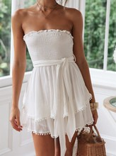 Women Summer Solid Cotton Linen Sexy Strapless Dress Boho Ruffle Beach Lace Up Party Mini