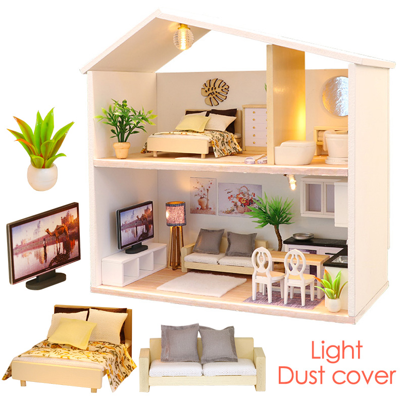 DIY Doll House Light Time Wooden Handcraft Miniatures Furniture Dollhouse Kits Dollhouse Puzzle Children Birthday Gift Girls Toy