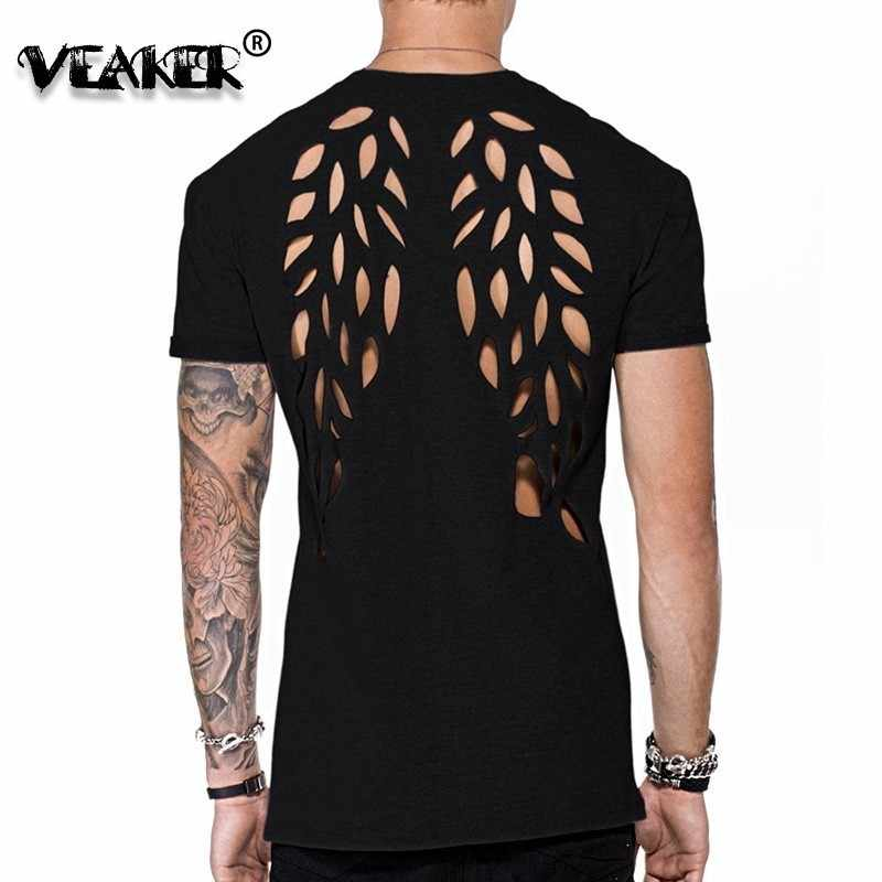 2019 Nieuwe Mannen Zomer Casual T-shirt Fashion Wings Hollow Out Backless T-shirt Man Zwart Sexy Tops Streetwear Sexy tops Hot Tee