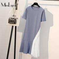 XL 5XL Plus Size Cotton T shirt Dress Women Clothes Summer 2019 Short Sleeve Patchwork Pleated Ruffle Loose Casual Midi Dresses