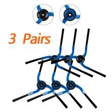 3 пары боковая щетка комплект запасная часть для samsung SR8980 робот пылесос синий замена боковая щетка
