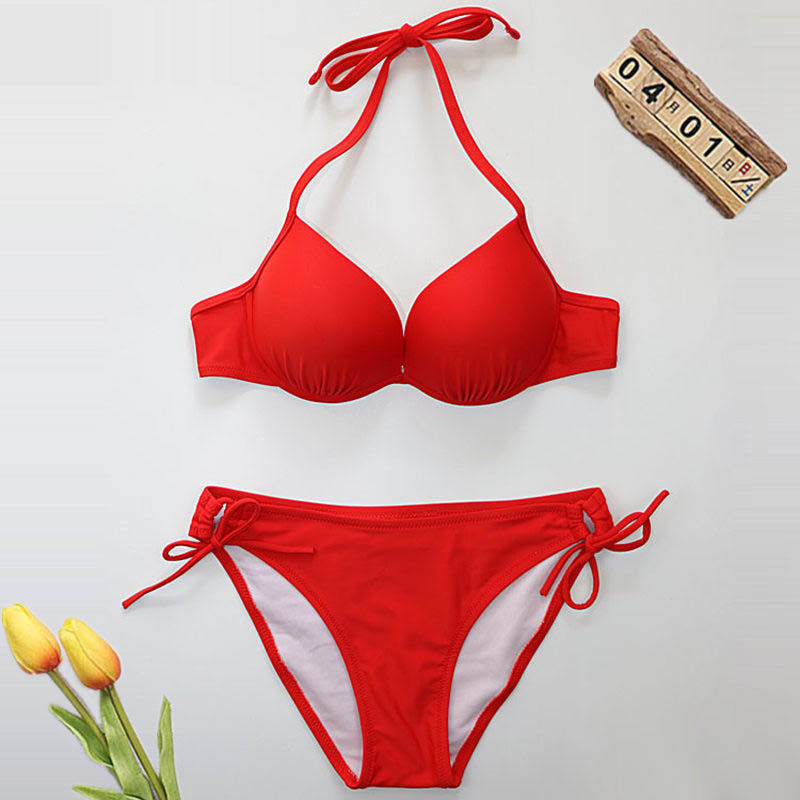 NODELAY 2019 Sexy Padded Bikinis Women Swimsuit Bandage Female Swimwear Push Up Triangle Bikini Set Halter Biquini Red Swim Suit