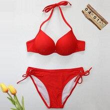 2020 New Imbottito Swimwear del Bikini Delle Donne del Costume Da Bagno Femminile Push Up Triangolo Biquini Sexy Nero Bikini Set Halter Fasciatura Costumi da bagno