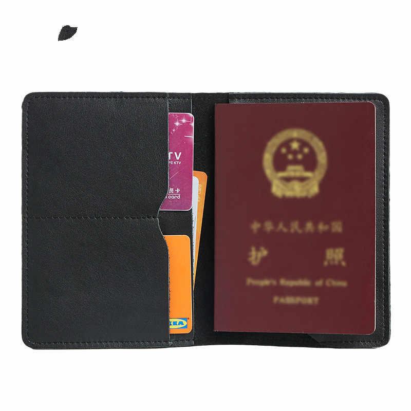 Bisnis Unisex Perjalanan Dompet Asli Kulit Cover 685-40 Padat Pemegang Kartu Kredit Vintage Pria Wanita Paspor Case