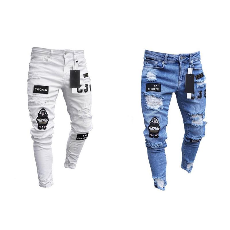 Men's Cotton Slim Fit   Jeans   Men's Hip Hop High-end Tight-fitting Hole Pants New Male Badges Slim   Jeans   White Blue Fashionable