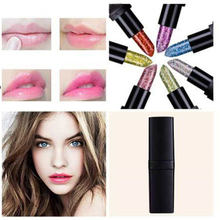 Glitter Lipstick Temperature Change Color Metallic Sequins Shimmer Makeup Batom Crystal Jelly Lip Blam