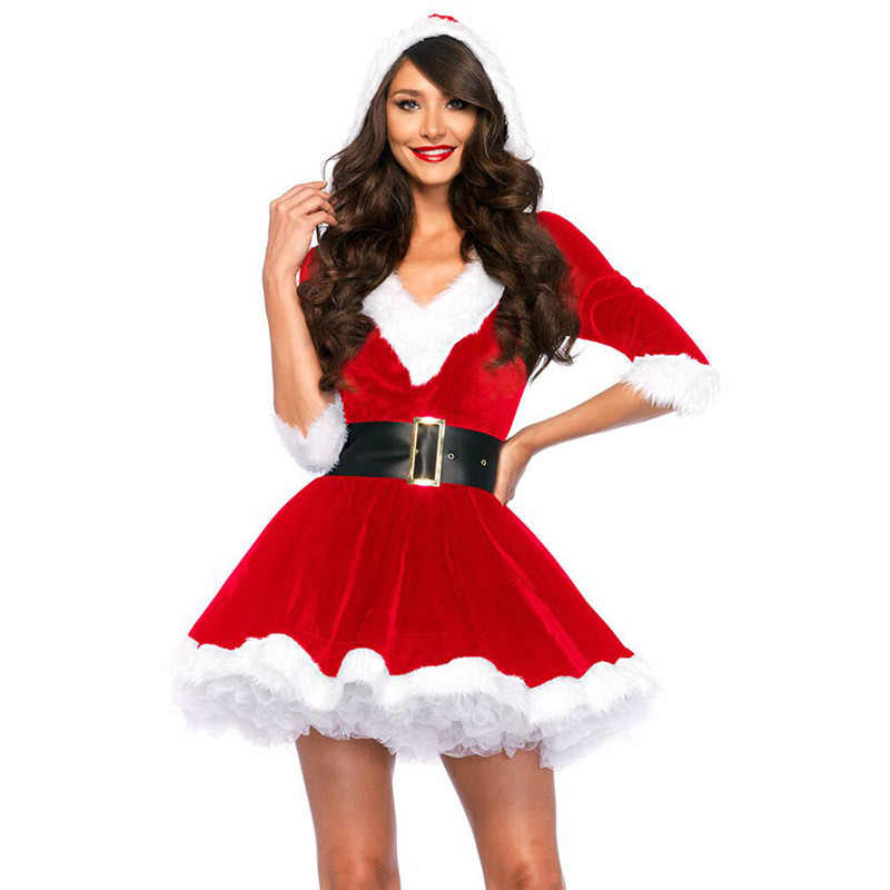 New Year Christmas Dress Women Christmas Costume For Adult 2018 Red Velvet  Fur Dresses Hooded Sexy ab37f0d48