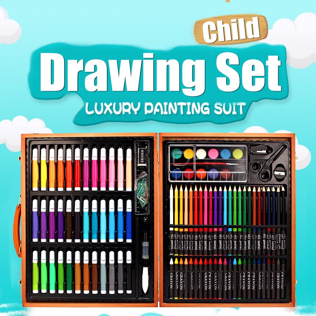 Ensemble de crayons de couleur 148 pièces ensemble de dessin de croquis professionnel de couleur Kit d'artiste de pinceau de peinture à colorier avec boîte en bois cadeau