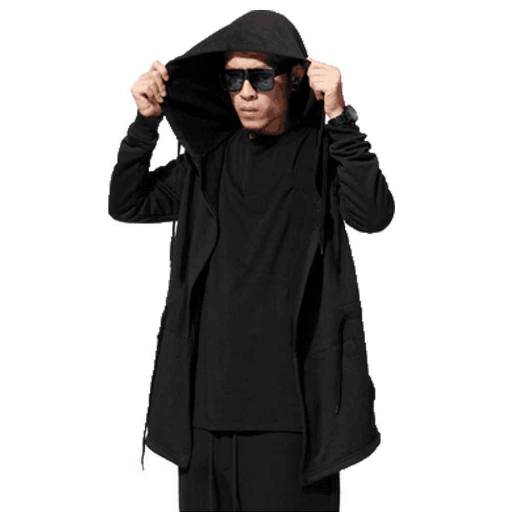 할로윈 여성 남성 유니섹스 고딕 아웃웨어 후드 코트 블랙 롱 자켓 따뜻한 캐주얼 망토 케이프 후드 가디건 탑스 의류