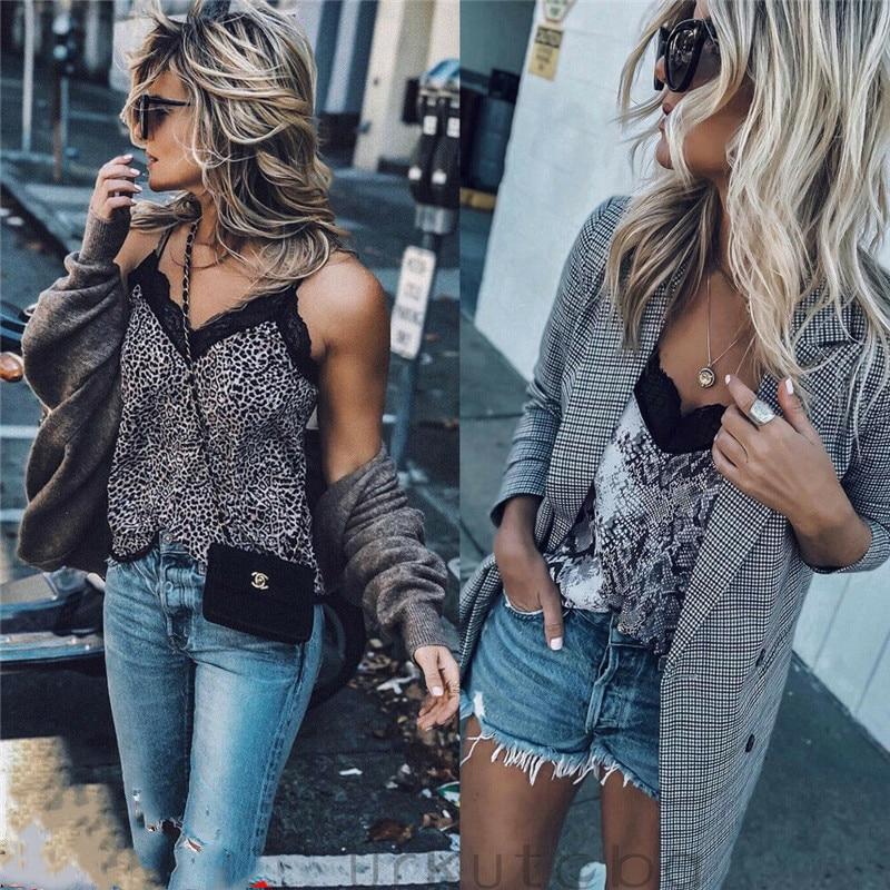 HIRIGIN Women Fashion Leopard Simple Silk Satin Lace Strap Crop Tops Tee Lady Summer Sleeveless Vest Top Camisole