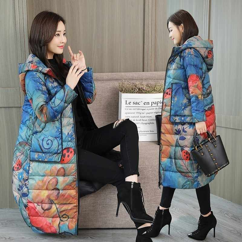 Vrouwen Hooded Print Down Jas Winter Mode Winddicht Losse Bovenkleding Plus Size Warm Wit Eendendons Gedrukt Lange Jas PJ326