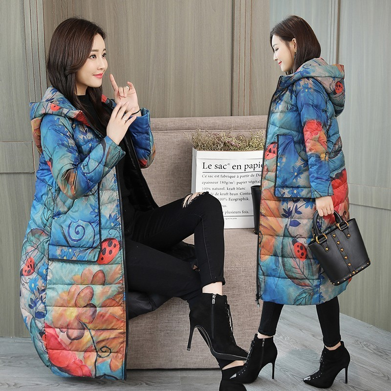 Women Hooded Print Down Coat Winter Fashion Windproof Loose Outerwear Plus Size Warm White Duck Down Printed Long Jacket PJ326