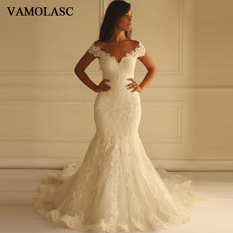 VAMOLASC V Neck Lace Appliques Mermaid Wedding Dresses Short Cap Sleeve Illusion Backless Sweep Train Bridal Gowns in Wedding Dresses from Weddings Events