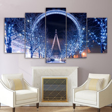 Modern Wall Art Painting 5 Panel Ferris Wheel London City Night Poster Canvas Printed Picture Home Decor For Living Room Artwork
