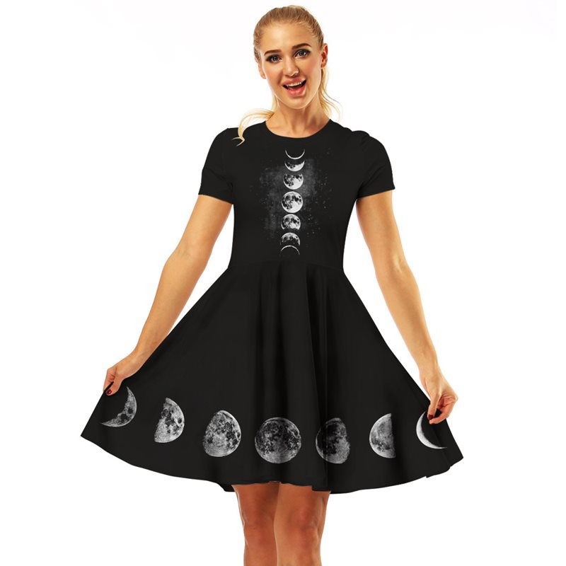 Rosetic Women Gothic Dress Summer Sexy Short Mini Plus Size XL Moon A Line Pleated Darkness Witch Vampire Party Holiday Dress 1