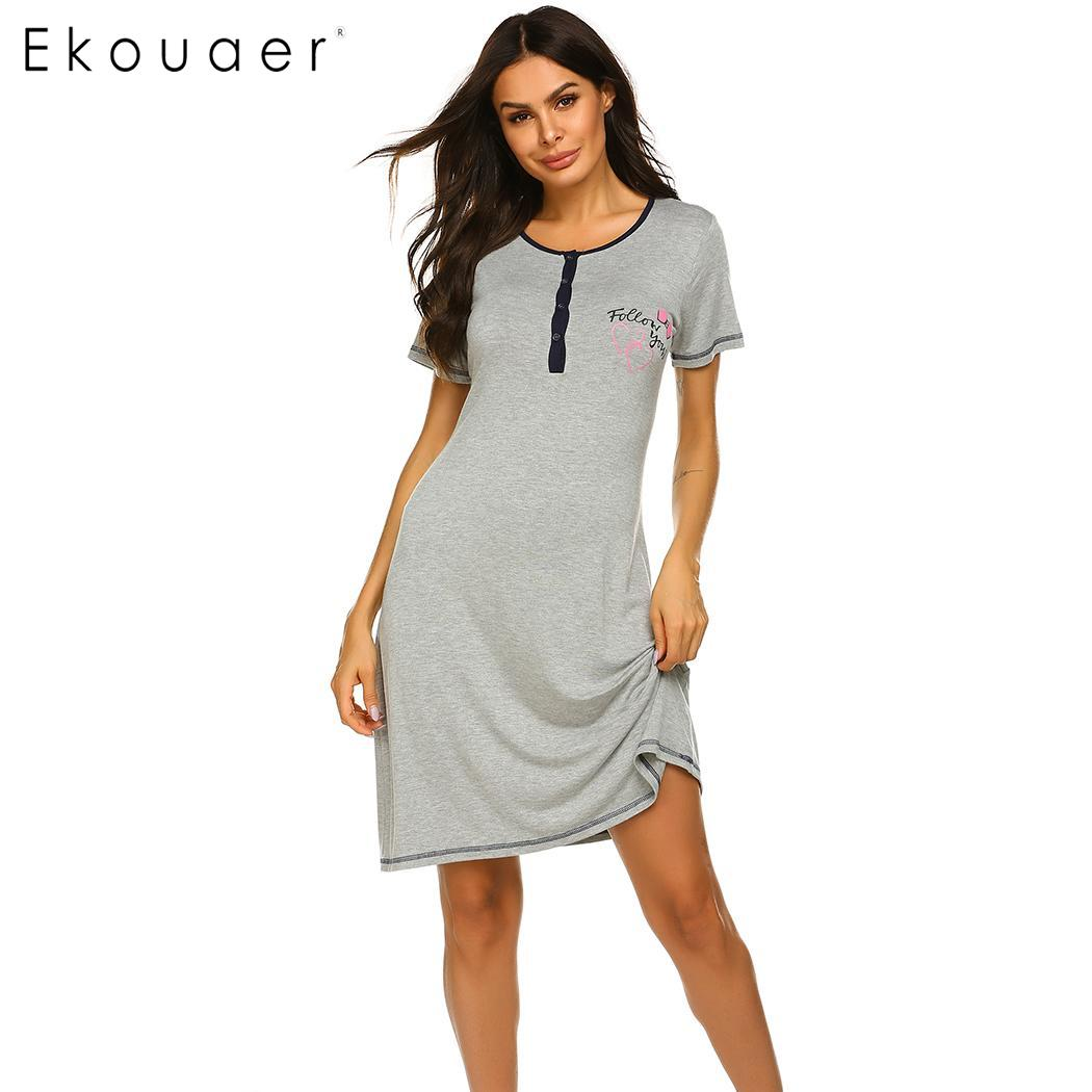 Ekouaer Women   Nightgown     Sleepshirts   O-Neck Short Sleeve Printed Soft Loose Night Dress Female Sleepwear Summer Dress Homewear