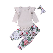 0-24M New Born Baby Clothes 3pc/Se Solid Gray T-Shirt Short Sleeve Tshirt Tops Floral Print Pants Girls Hairband Clothing Set(China)