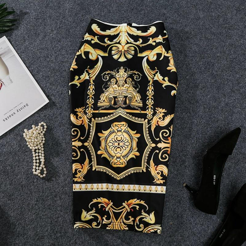 2019 New-Coming European Women Autumn Print Pencil Skirt High Stretch Abstract Pattern Midi Slip Hip Skirt Female