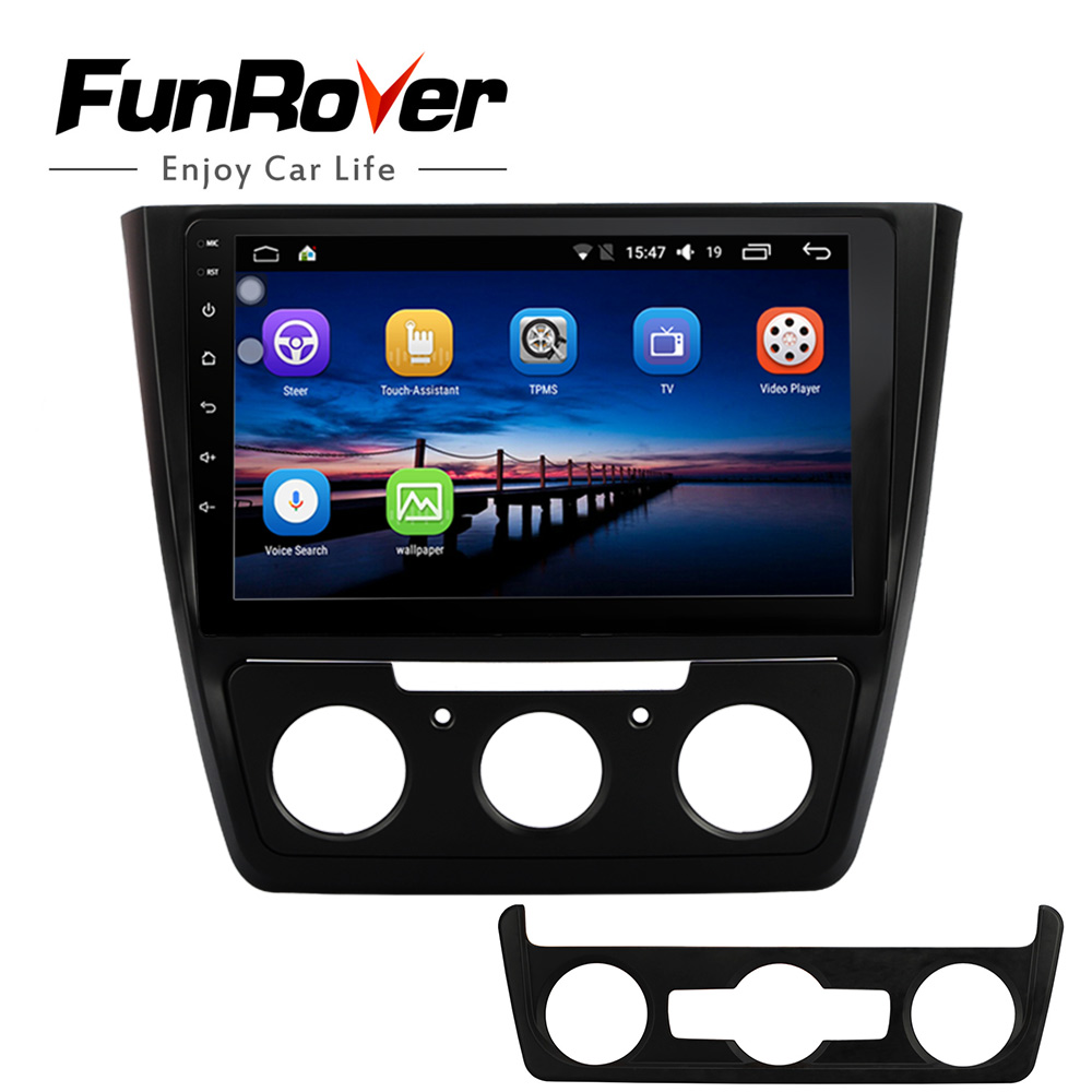 Funrover 2 din Car radio Multimedia DVD player 10.1 Android8.0 gps For Skoda Yeti 2014-2017 stereo auto radio video navigation