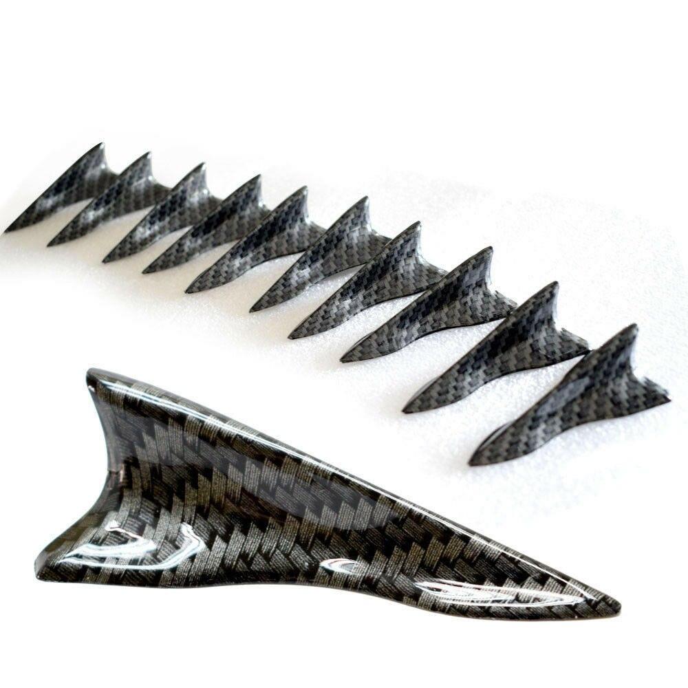10PCS Universal Shark Fin Diffuser Vortex Generator Car Wing Roof Spoiler Bumper Shark Fin Carbon Fiber Tail Generator