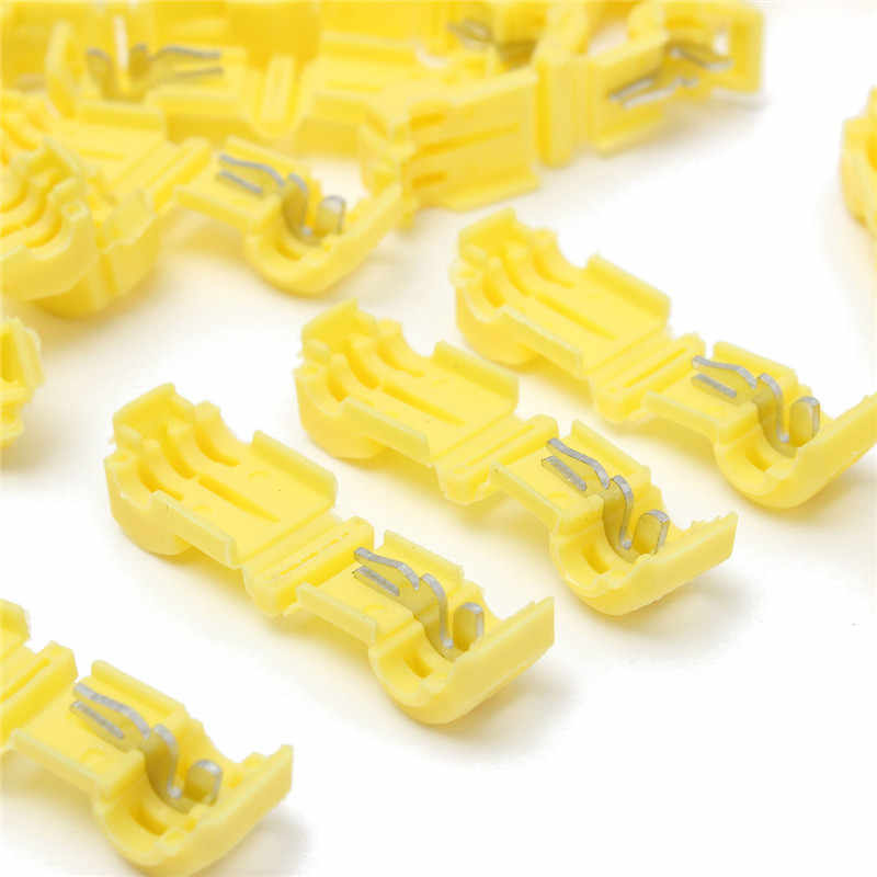 TC01 50pcs Yellow Quick Splice Wire Terminal Female Spade Connector Set Quick Splice 12-10AWG 4.0-6.0mm2 Kit Tool Set