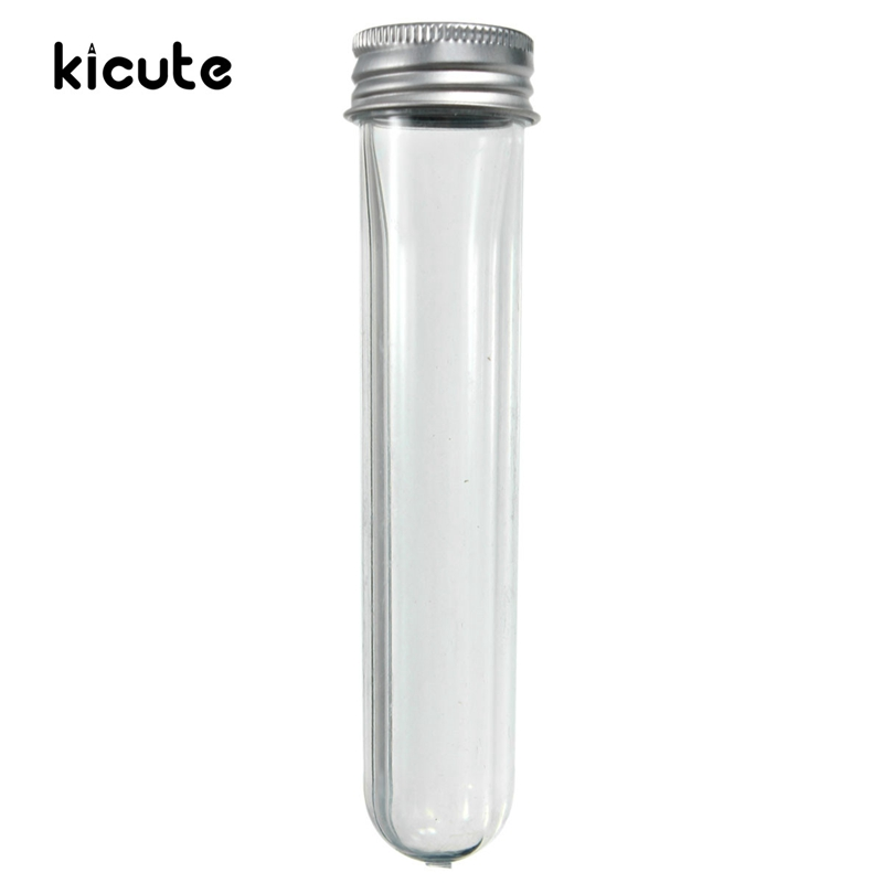 1Pcs 40ml U Shape Empty Plastic Transparent Sealing Tube Container Screw Lid Test Tube With Cap Aluminium Lab School Supplies