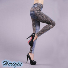 Womens Casual Pencil Soft Jeans Elastic High Waist Skinny Stretchy Long Denim Pants Leopard Patchwork