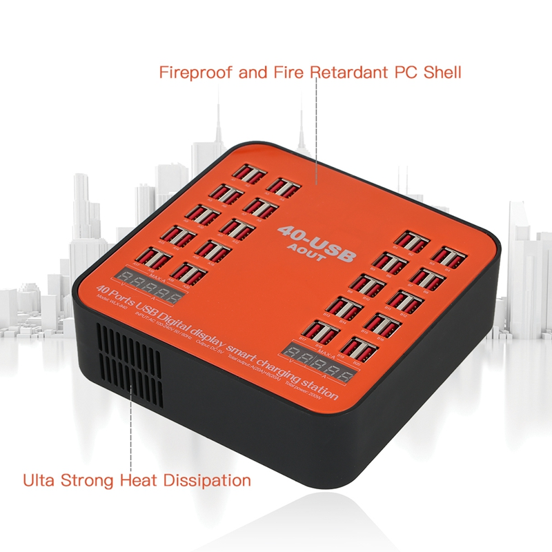 WLX 840 USB Charger 200W 40 Port USB Wall Charger Dual Digital Display Smart Charging Station with Foldable Plug for IPhone Ip in Chargers from Consumer Electronics