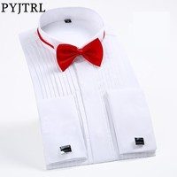 PYJTRL Male Classic Wedding Bridegroom Groomsman Dress Tuxedo Shirt Gentleman Formal Long Sleeve Slim Fit Men Chemise Homme Tuxedo Shirts