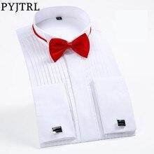 PYJTRL Male Classic Wedding Bridegroom Groomsman Dress Tuxedo Shirt Gentleman Formal Long Sleeve Slim Fit Men Chemise Homme
