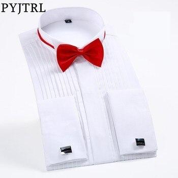 PYJTRL Male Classic Wedding Bridegroom Groomsman Dress Tuxedo Shirt Gentleman Formal Long Sleeve Slim Fit Men Chemise Homme Tuxedo Shirts