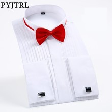 PYJTRL Mannelijke Klassieke Bruiloft Bruidegom Stalknecht Dress Tuxedo Shirt Gentleman Formele Lange Mouwen Slim Fit Mannen Chemise Homme
