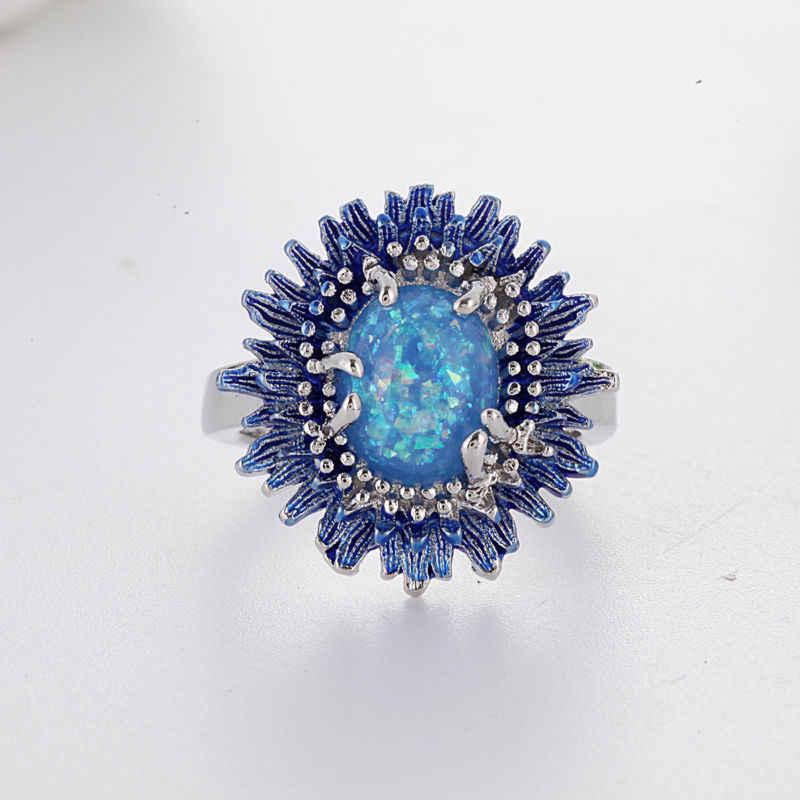แฟชั่นสตรีฝังแหวนมงคลดอกทานตะวันแหวนเครื่องประดับงานแต่งงาน Blue Fire OPAL ดอกไม้ของขวัญ
