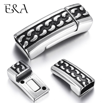 Stainless Steel Magnetic Clasps Flat Hole 12*6mm Magnet Buckle Leather Cord Clasp DIY Bracelet Closure Jewelry Making Supplies stainless steel magnetic clasp hole 6mm leather cord clasps magnet buckle diy bracelet closure supplies jewelry making findings