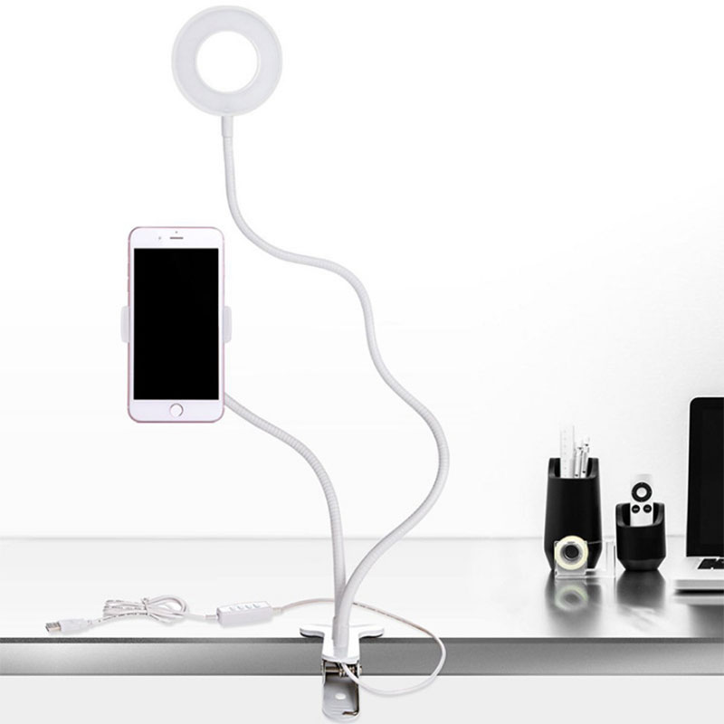 Photo LED Ring Light For Phone Video Lamp Studio Selfie Makeup Lighting Camera Lamp For Live Show + Phone Mobile Holder CF756