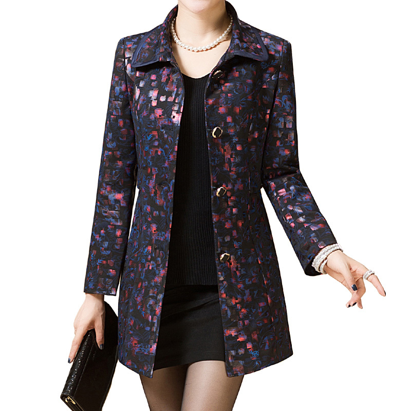 Spring Autumn Women Floral Printed   Trench   Coat Casual Long Sleeve Single Breasted Outerwear Plus Size L-4XL