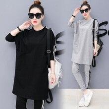 שתי חתיכה להגדיר למעלה ומכנסיים אימונית 2 חתיכה סטי נשים תלבושות בתוספת גודל בגדי סתיו 2020 קוריאני סגנון אופנה סתיו