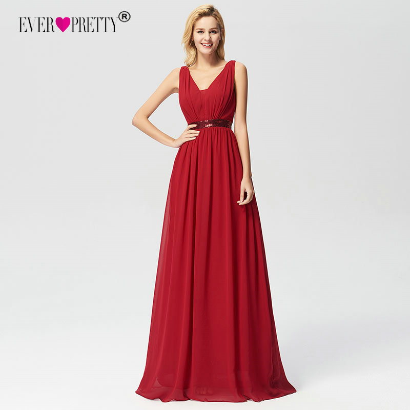 Ever Pretty Elegant Burgundy A-line Sequined   Prom     Dresses   2018 Women's Long Sleeveless V-neck Chiffon Cheap Occasion Gowns