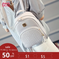 Preppy Style Leather Women Backpack School Bags for Teenager Girls Classic Alligator Pattern Small Female Backpacks White Black