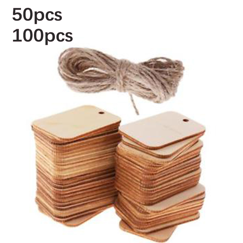 25PCS//50PCS Blank Party Favor Gift Hanging  Rope Wooden Tags Wedding Scrapbooing