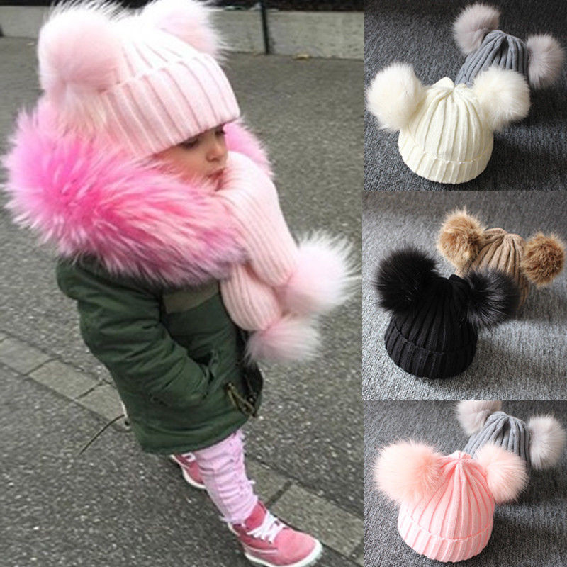 Cute Winter Warm Kids Baby Girl Boy Hats Infant Solid Knitted Pom Beanie Hat Crochet Ball Bobble Cap Solid Children Hat 1-3Y