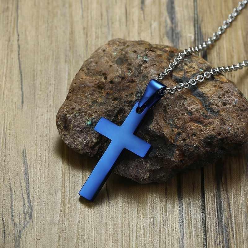 シンプルなステンレススチールブルーメンズはりつけ十字架ユニセックスジュエリー 20 インチチェーン