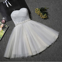 9 Colors Vintage Strapless Tulle Shiny Beading Mini Womens Dresses Girls Short Formal Evening Party Dresses Vestidos