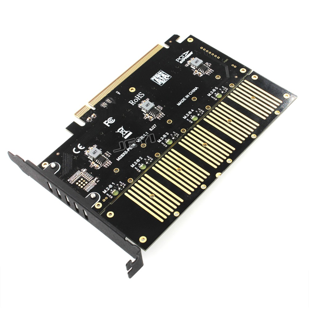 JEYI PCIE 5 m. 2 Carte D'extension SATA Tour PCIE3.0 SATA RAID Carte 5 * ssd 5 * ngff 5 * m.2 Softraid Carte Grande Puissance PCIE 16 Gbps