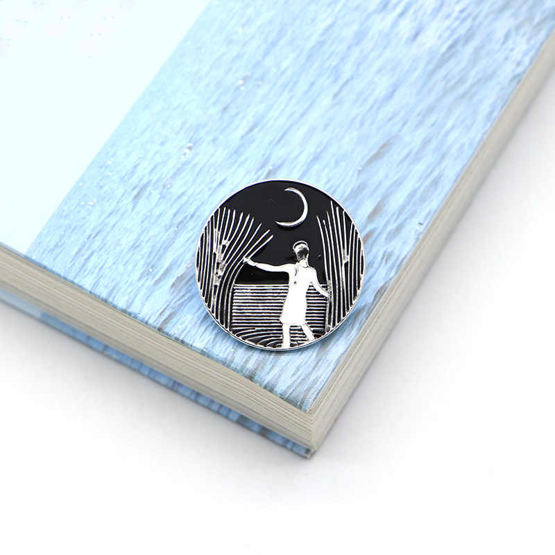 Asli Seni Hitam Putih Bros Reed Malam Enamel Pin untuk Anak-anak Kerah Pin untuk Tas, Topi, Pin Jaket Denim Wanita Bros lencana SC4727