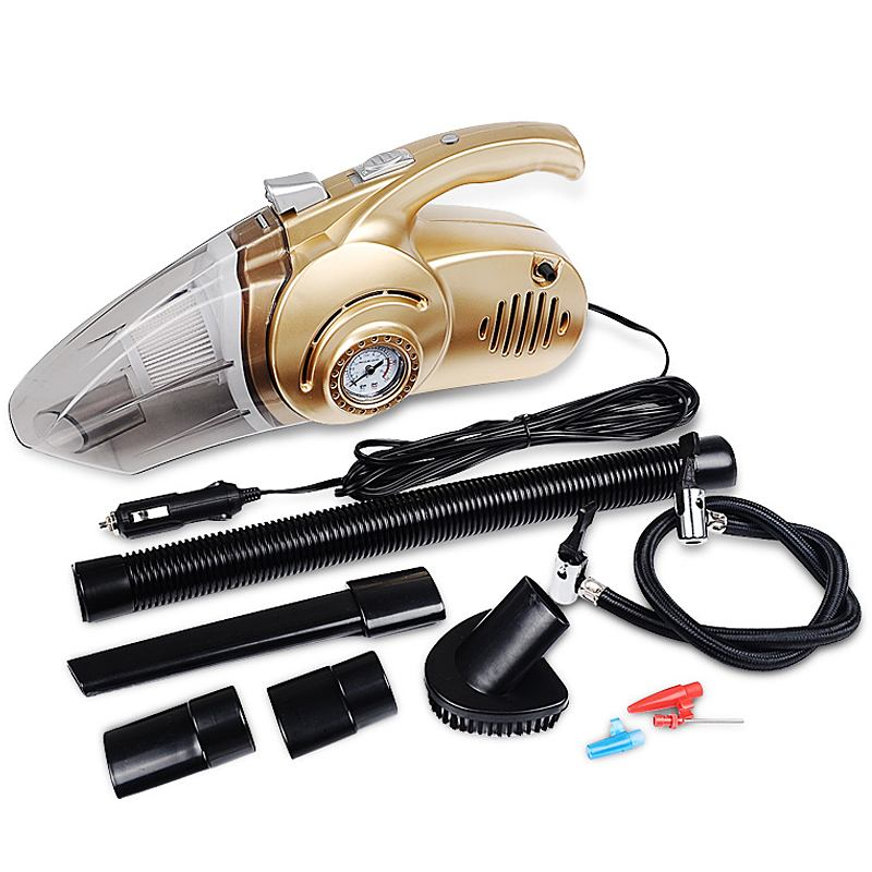 4-in-1 HandheldCar Vacuum Cleaner With Digital Tire Inflator Pump Pressure Wet and Dry Use Portable Asur Voiture For Auto