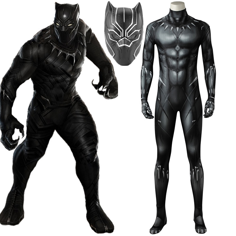 Black Panther Printed Jumpsuit Outfits Prop Halloween Cosplay Costume